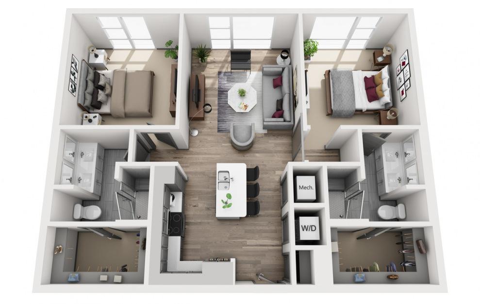 2L-A Alt Floor Plan - Uptown 550