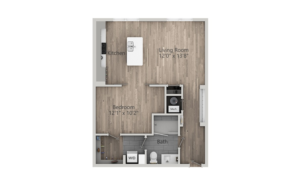 1L-A ALT - 1 bedroom floorplan layout with 1 bath and 761 square feet. (2D)