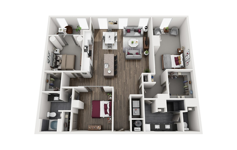 Amaretto - 3 bedroom floorplan layout with 2 baths and 1840 square feet. (3D)