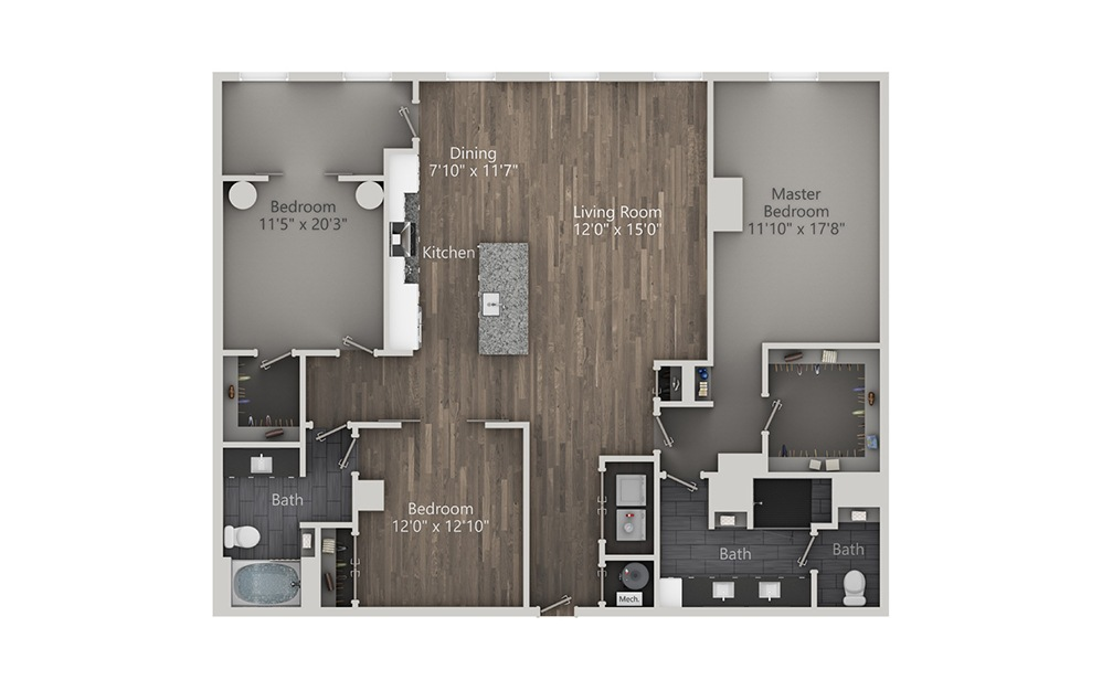 Amaretto - 3 bedroom floorplan layout with 2 baths and 1840 square feet. (2D)