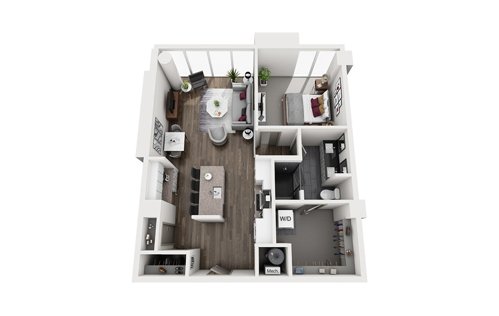 Aviation - 1 bedroom floorplan layout with 1 bath and 840 square feet. (3D)