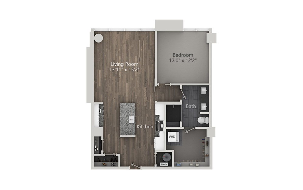 Aviation - 1 bedroom floorplan layout with 1 bath and 840 square feet. (2D)