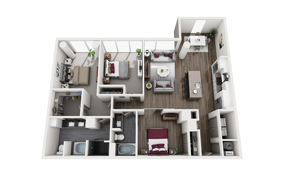 Boulevardier - 3 bedroom floorplan layout with 2 baths and 1609 square feet. (3D)
