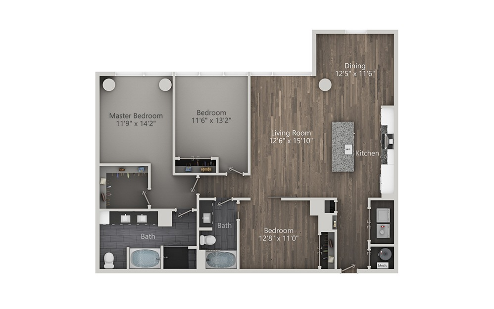 Boulevardier - 3 bedroom floorplan layout with 2 baths and 1609 square feet. (2D)