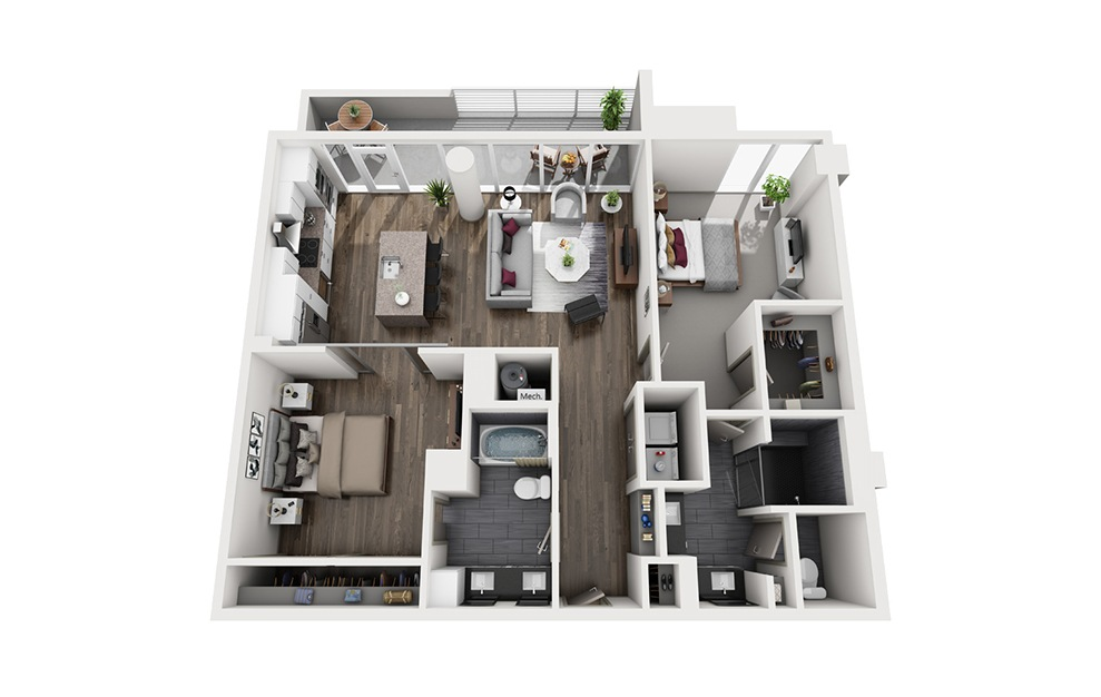 Collins - 2 bedroom floorplan layout with 2 baths and 1264 square feet. (3D)