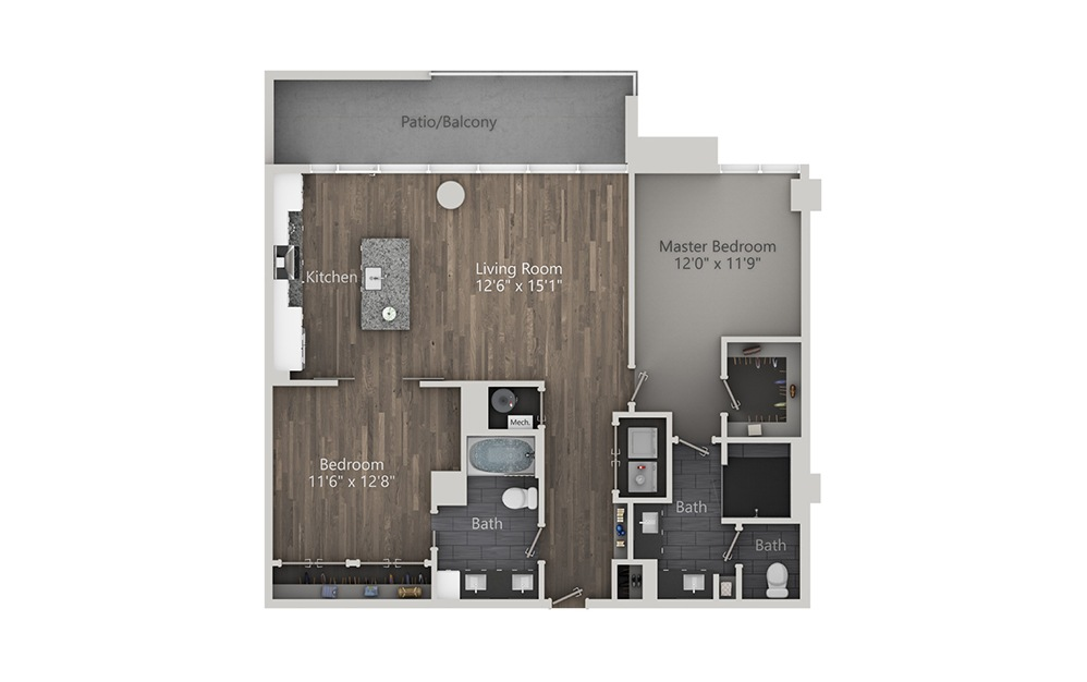 Collins - 2 bedroom floorplan layout with 2 baths and 1264 square feet. (2D)