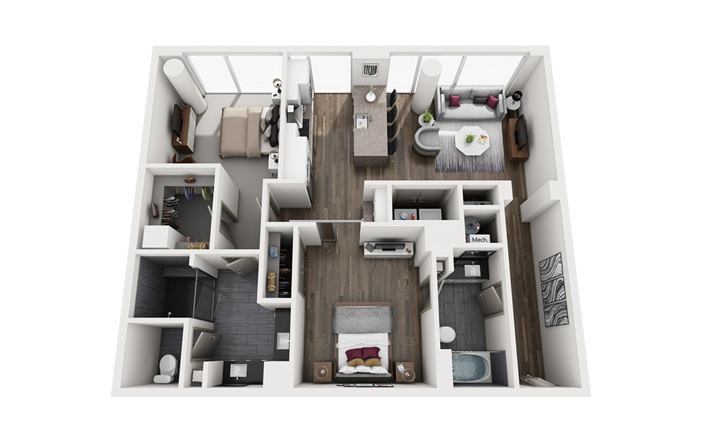 French 75 - 2 bedroom floorplan layout with 2 baths and 1119 square feet. (3D)