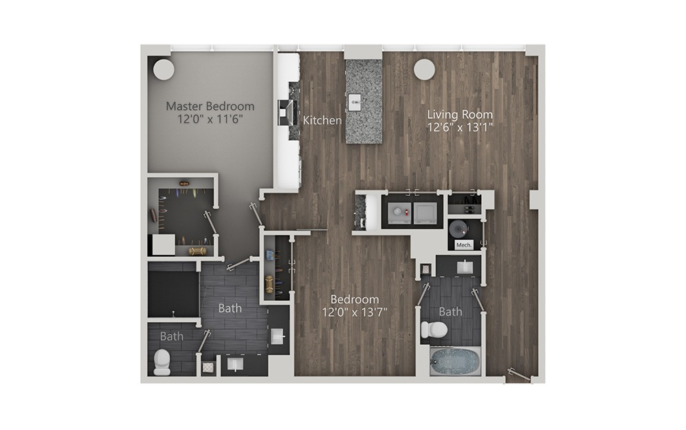 French 75 - 2 bedroom floorplan layout with 2 baths and 1119 square feet. (2D)