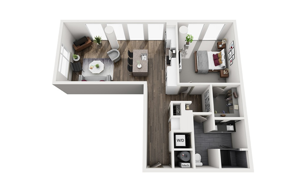 Mezcal - 1 bedroom floorplan layout with 1 bath and 914 square feet. (3D)