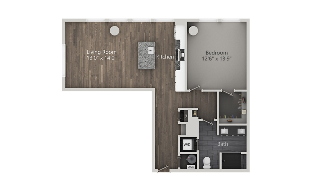 Mezcal - 1 bedroom floorplan layout with 1 bath and 914 square feet. (2D)