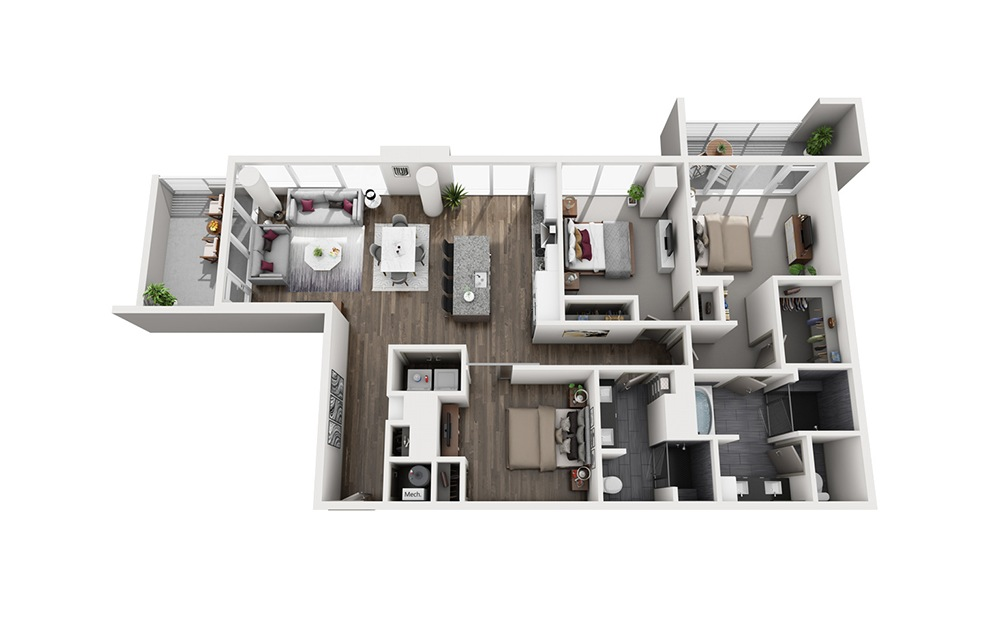 Old Fashioned - 3 bedroom floorplan layout with 2 baths and 1754 square feet. (3D)