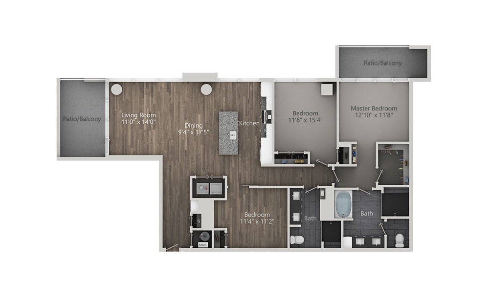 Old Fashioned - 3 bedroom floorplan layout with 2 baths and 1754 square feet. (2D)