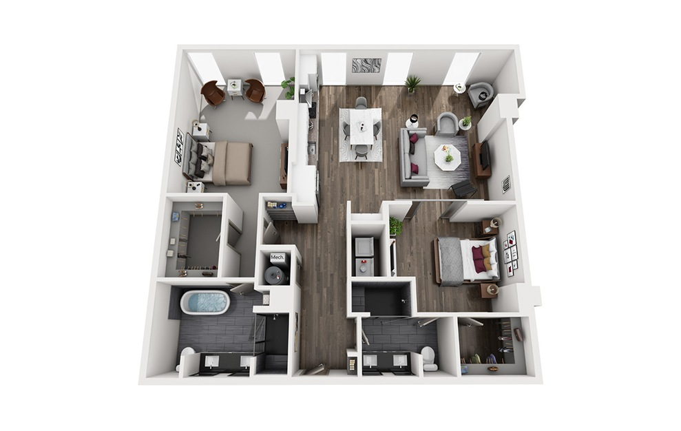 Paloma - 2 bedroom floorplan layout with 2 baths and 1216 square feet. (3D)