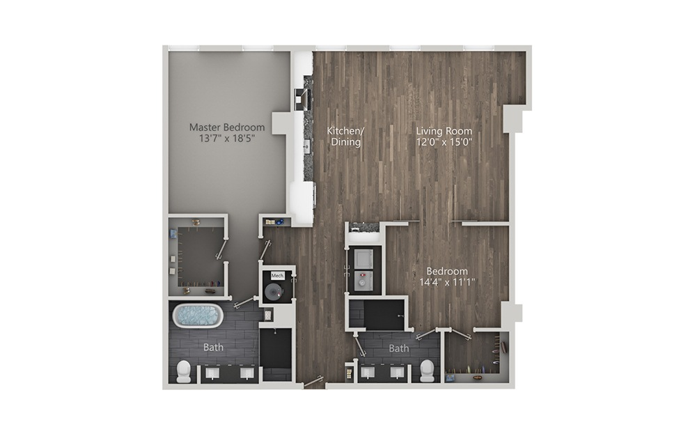Paloma - 2 bedroom floorplan layout with 2 baths and 1216 square feet. (2D)