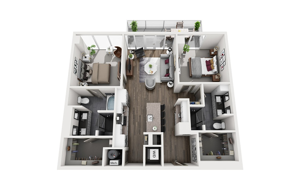 Rob Roy - 2 bedroom floorplan layout with 2 baths and 1200 square feet. (3D)