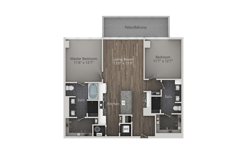 Rob Roy - 2 bedroom floorplan layout with 2 baths and 1200 square feet. (2D)