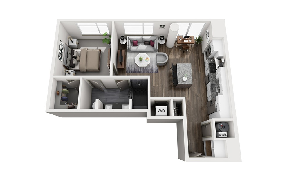Sidecar - 1 bedroom floorplan layout with 1 bath and 837 square feet. (3D)