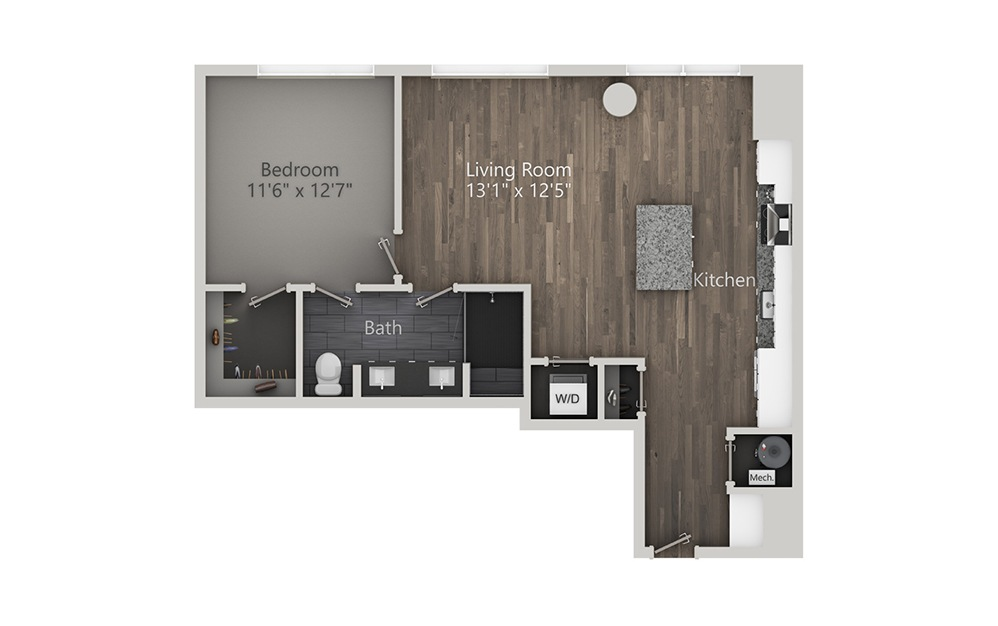 Sidecar - 1 bedroom floorplan layout with 1 bath and 837 square feet. (2D)