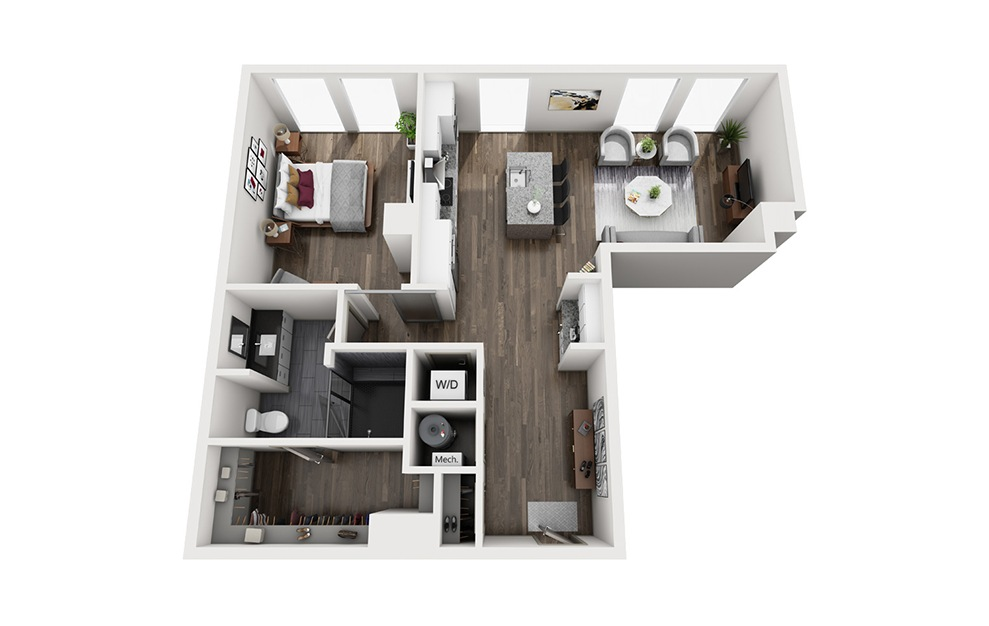 Southside - 1 bedroom floorplan layout with 1 bath and 965 square feet. (3D)