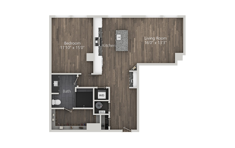 Southside - 1 bedroom floorplan layout with 1 bath and 965 square feet. (2D)