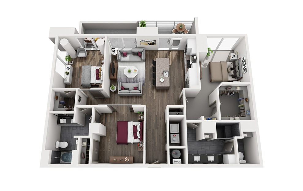 Uptown Mule - 3 bedroom floorplan layout with 2 baths and 1520 square feet. (3D)