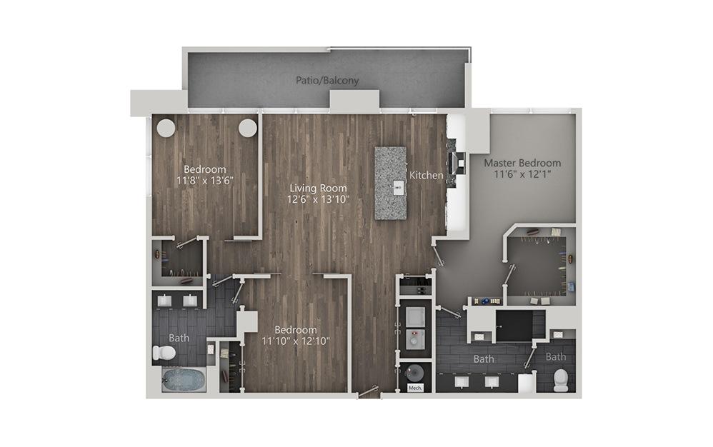 Uptown Mule - 3 bedroom floorplan layout with 2 baths and 1520 square feet. (2D)